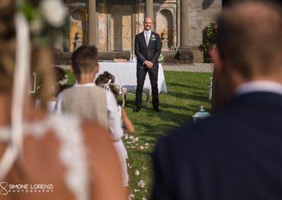 primo sguardo degli sposi al Matrimonio country chic in Villa Pesenti Agliardi, Bergamo