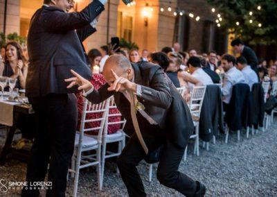 cena di nozze con ingresso dello sposo in stile corrida al Matrimonio civile in Villa Pesenti Agliardi, Bergamo